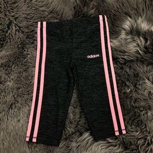Adidas   Girls' Pink Striped Leggings   Size 3T